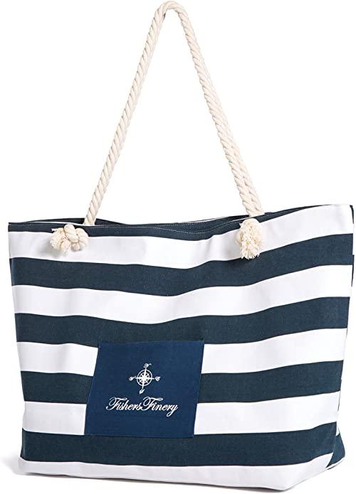 Canvas-Striped-Beach-Bag
